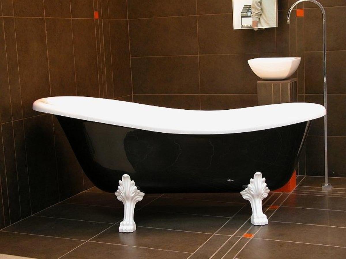 Detached luxury bath Nouveau Roma Black / White / White 1470mm ...