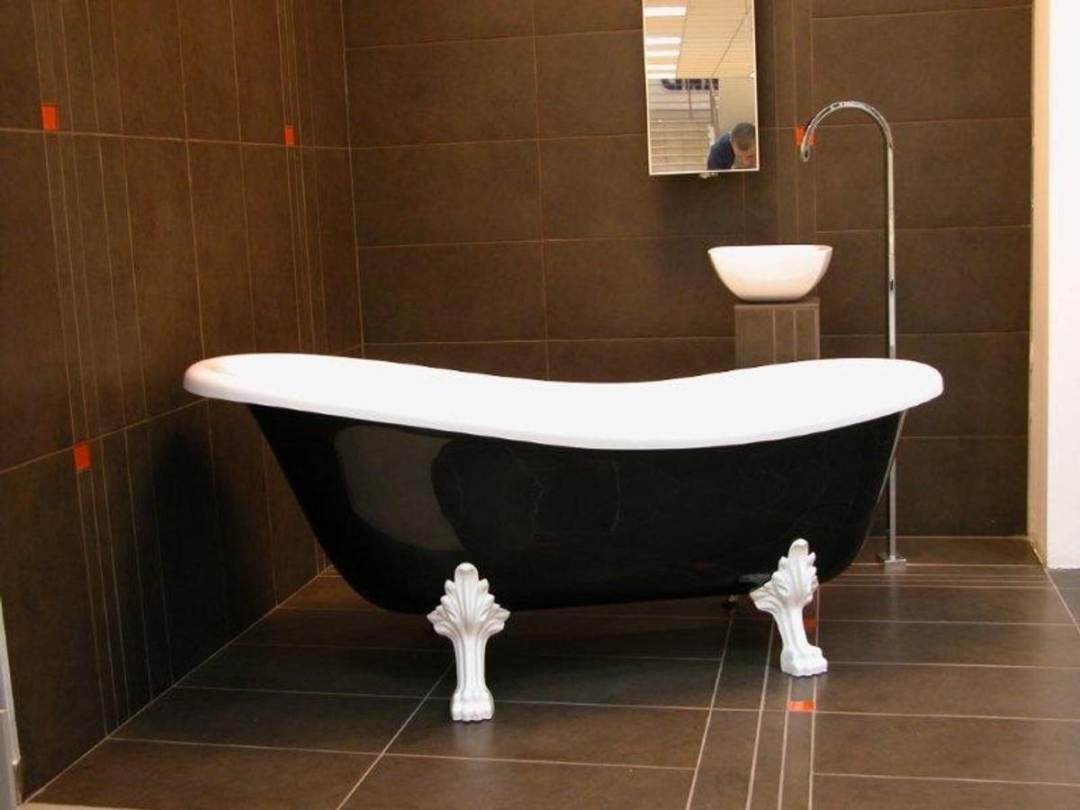 Freistehende Luxus Badewanne Jugendstil Roma Schwarz/Weiß/Weiß ...