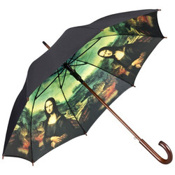 "Designer Umbrella Leonardo da Vinci's ""Mona Lisa"" - Elegant Umbrella - Luxury Design - Automatic Umbrella"