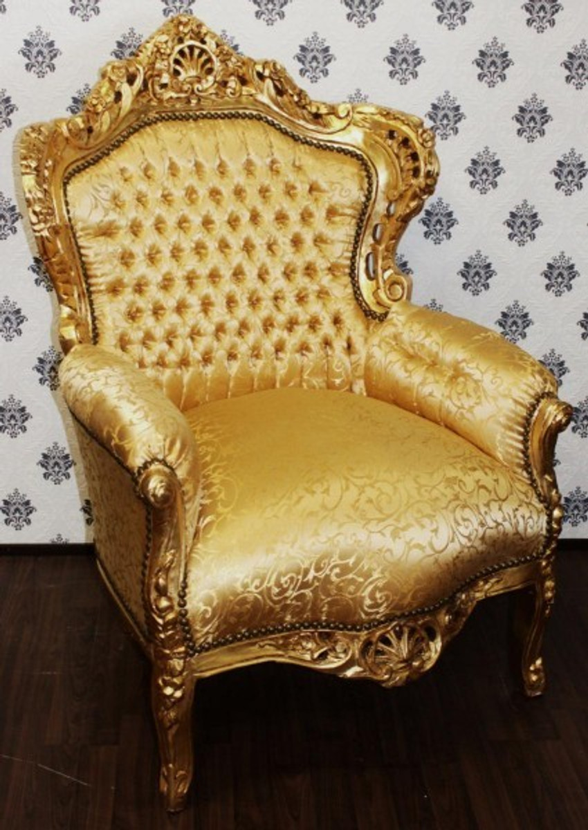 barock sessel king gold muster gold m bel antik stil sessel. Black Bedroom Furniture Sets. Home Design Ideas