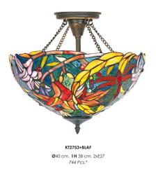 Handcrafted Tiffany ceiling lamp height 38 cm, diameter 40 cm - light bulb
