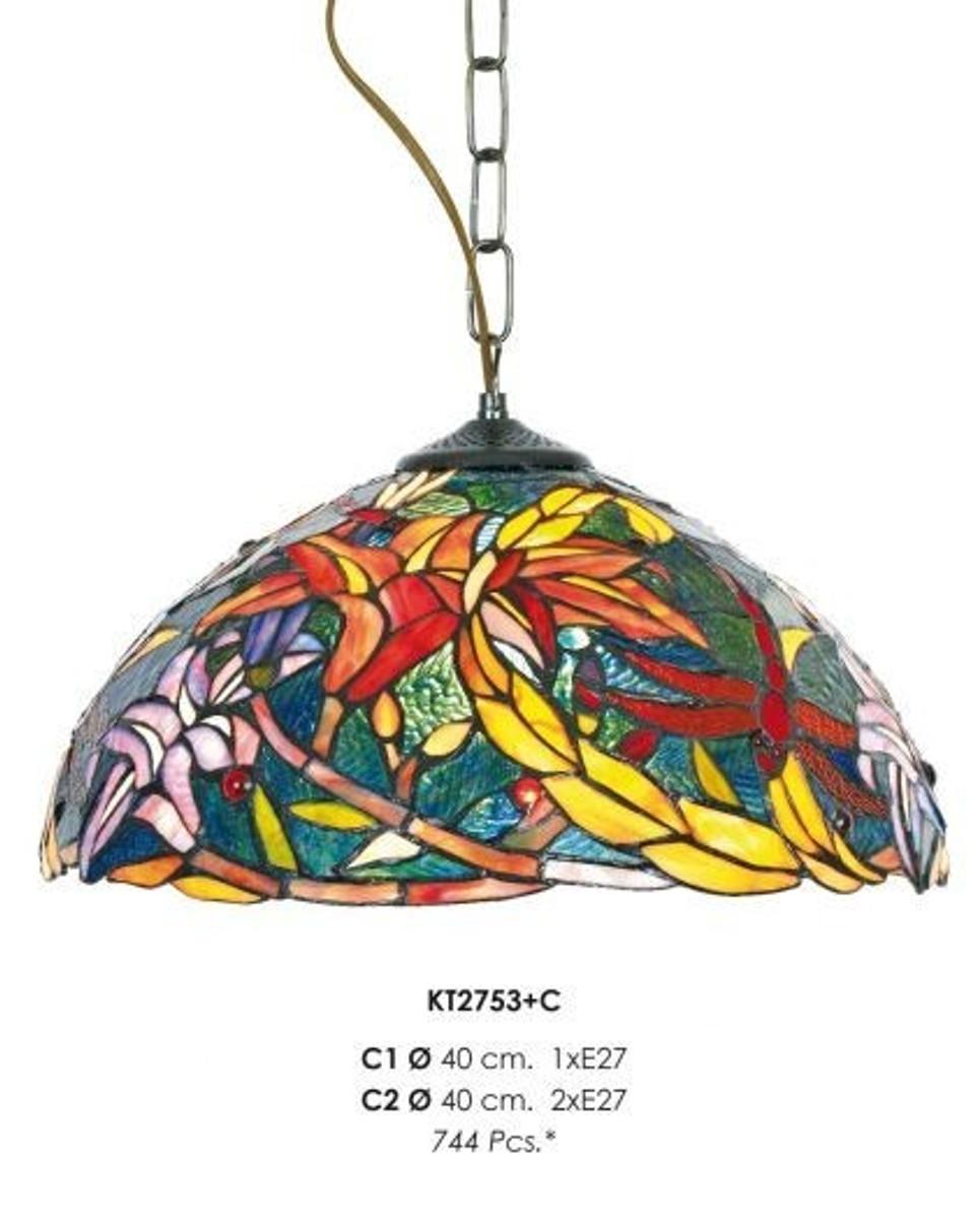 Handmade Tiffany Pendant Light Hanging Lamp Diameter 40 Cm 1 Burner Light Bulb