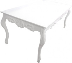 Casa Padrino Baroque dining table white shabby chic style L205 x B104 x H82 cm