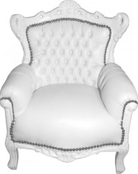 Casa Padrino Baroque Kids Armchair / throne White / White