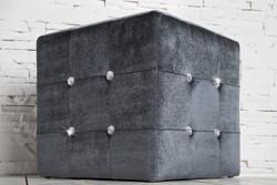 Casa Padrino Stool gray Dice with bling bling stones - Cube Stool - Stool Designer