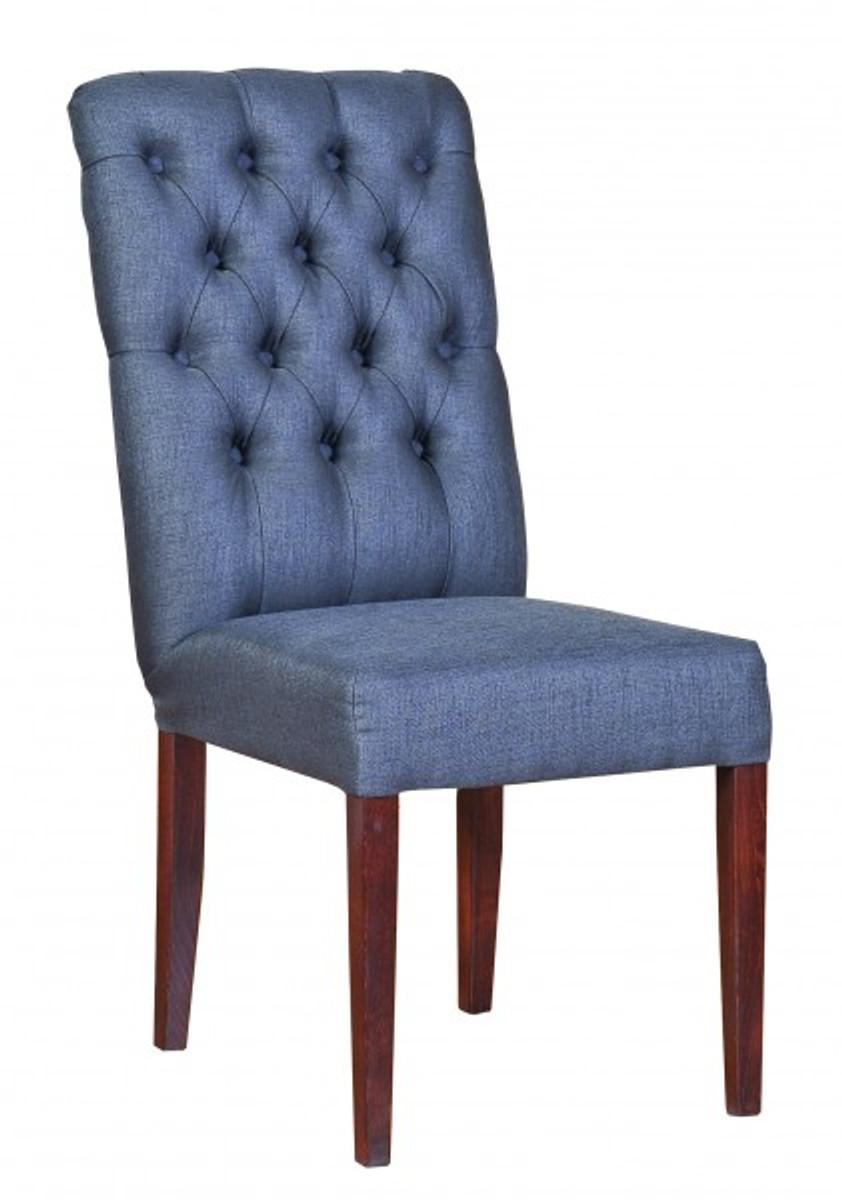 Casa Padrino Designer Esszimmer Stuhl ModEF 225 Blau-Grau / Braun - Hoteleinrichtung - Buchenholz - Chesterfield Design 2