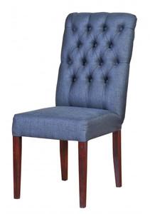 Casa Padrino Designer Esszimmer Stuhl ModEF 225 Blau-Grau / Braun - Hoteleinrichtung - Buchenholz - Chesterfield Design