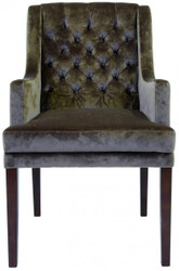 Casa Padrino Designer Dining Chair with armrests modef 309 Taupe / Brown - Hotel Facilities - Beerch Wood - Chesterfield Style