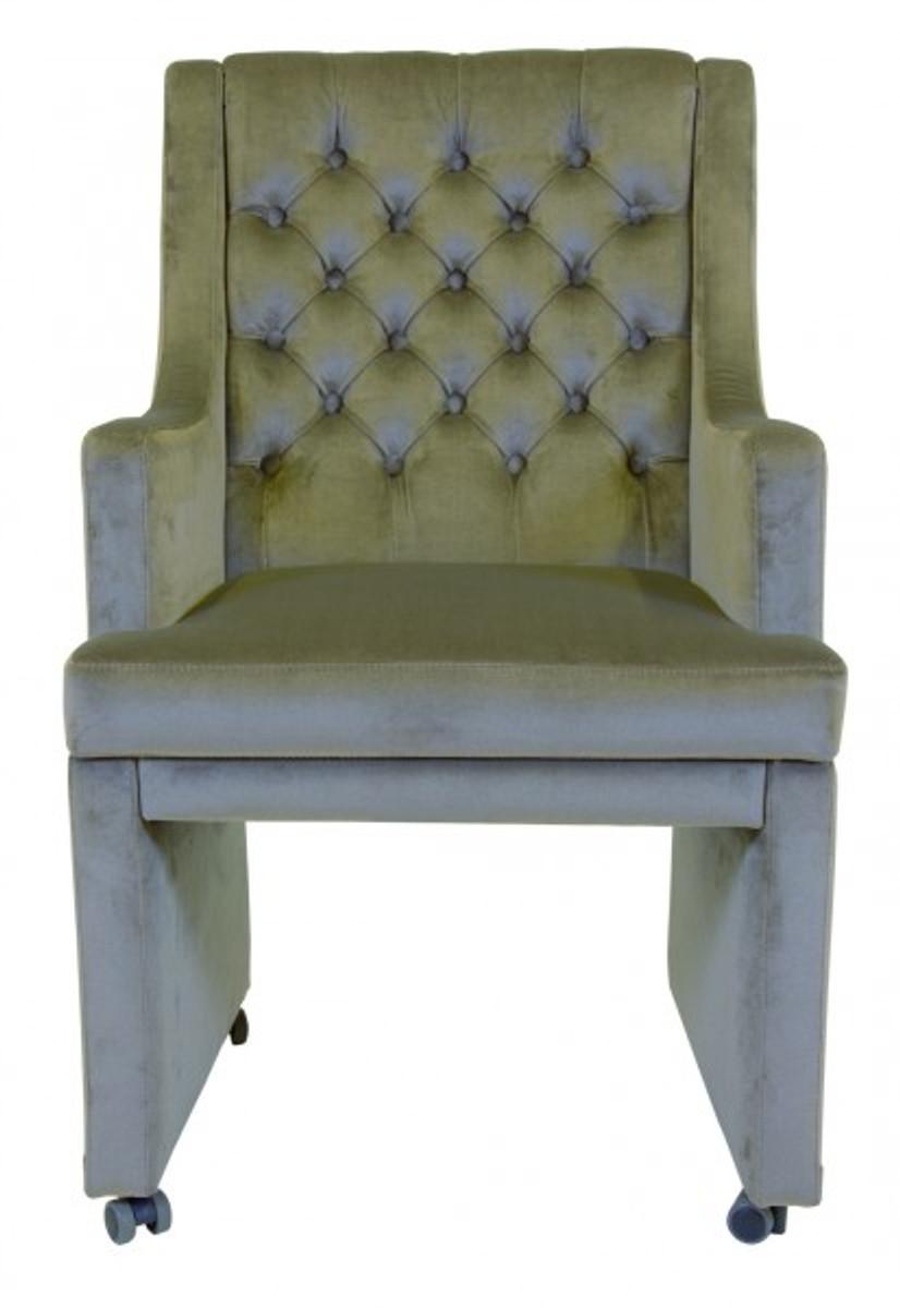 Casa Padrino Designer Esszimmer Stuhl / Sessel ModEF 313 Grau Samt    Hoteleinrichtung   Sessel Auf. Loading Zoom