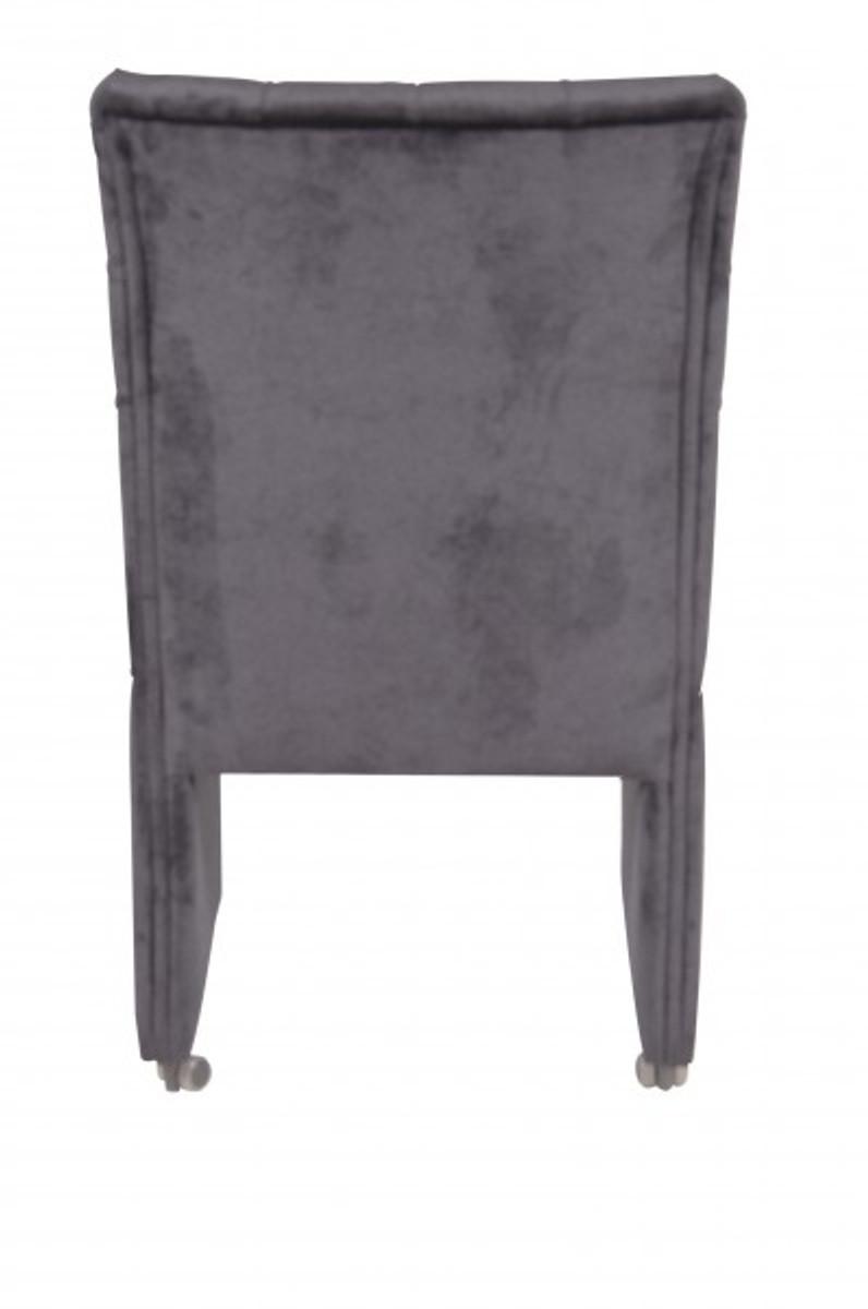Casa Padrino Designer Esszimmer Stuhl Sessel Modef 320 Schwarz Samt Hoteleinrichtung Sessel Auf Rollen