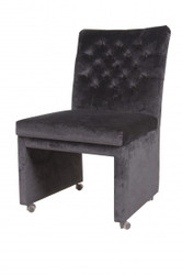 Casa Padrino Designer Dining chair / modef 320 Black Velvet - Hotel Facilities - chair with casters