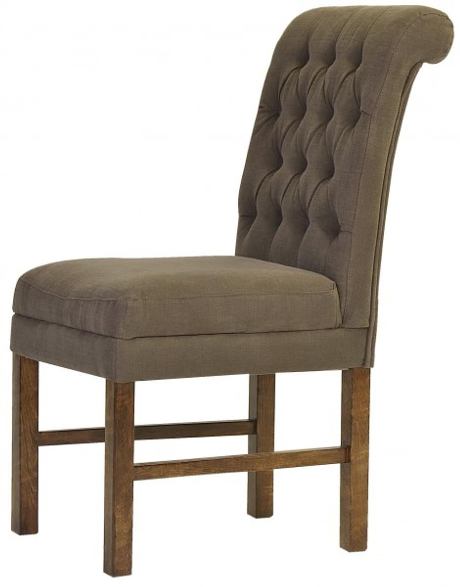 Casa Padrino Designer Esszimmer Stuhl ModEF 16 Braun Grau / Braun    Hoteleinrichtung   Buchenholz   Chesterfield Design