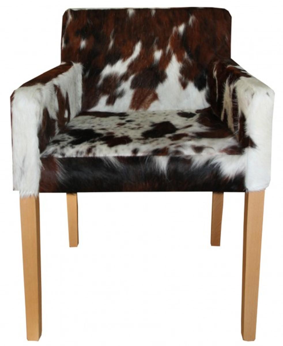 Casa Padrino Designer Esszimmer Stuhl mit Armlehnen ModEF 35 Kuhfell - Hotelmöbel - Buche - Echtes Fell 1