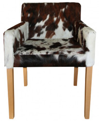 Casa Padrino designer eat room chair with armrests modef 35 Cowhide - Hotel Furniture - Beech - real fur