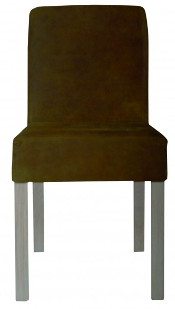 Casa Padrino Designer Esszimmer Stuhl ModEF 35 Braun Leder - Hotelmöbel - Holz Buche 1