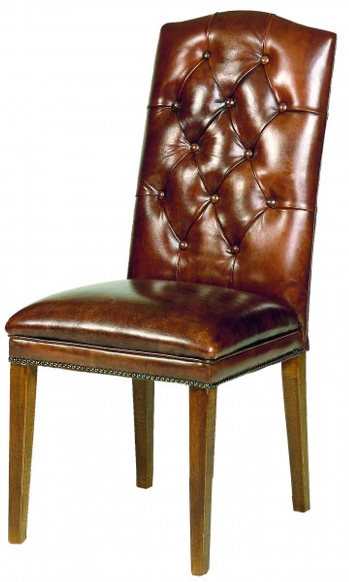 Casa padrino designer chesterfield esszimmer stuhl modef 266 braun leder braun hotelm bel - Chesterfield stuhl ...