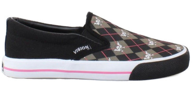 Vision Street Wear Skateboard Shoes Skully Slip On-Black / Grey / Pink