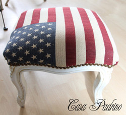 Casa Padrino Barock Fußhocker USA Design / Creme - Hocker USA Flagge