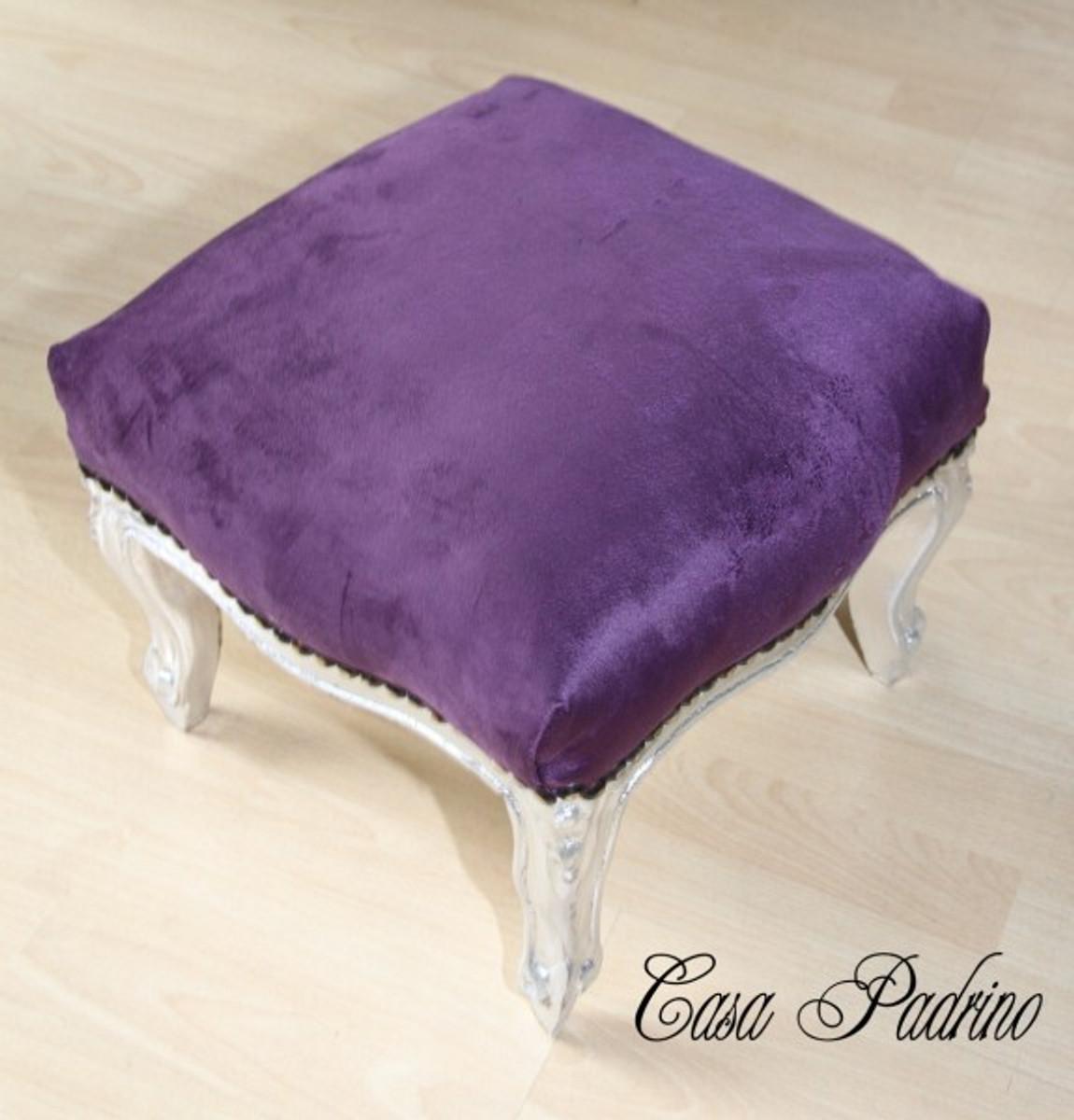 casa padrino barock fu hocker lila silber hocker antik. Black Bedroom Furniture Sets. Home Design Ideas