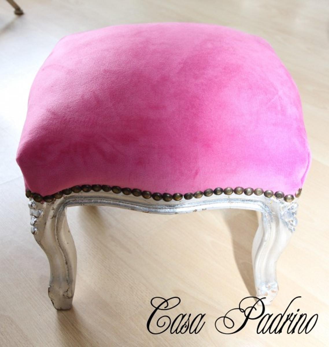 casa padrino barock fu hocker rosa silber antik stil. Black Bedroom Furniture Sets. Home Design Ideas