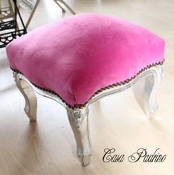 Casa Padrino baroque ottoman Pink / Silver - Antique furniture - stools