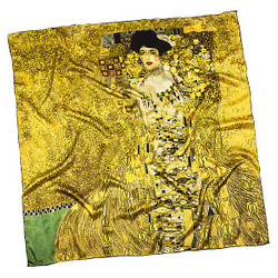 "Designer satin cloth with a famous motif of Art Nouveau painter Gustav Klimt ""Adele"" 100% silk - very elegant and high-quality silk scarf - Luxury quality Bild 2"