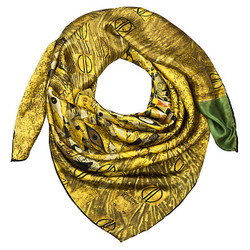 "Designer satin cloth with a famous motif of Art Nouveau painter Gustav Klimt ""Adele"" 100% silk - very elegant and high-quality silk scarf - Luxury quality"