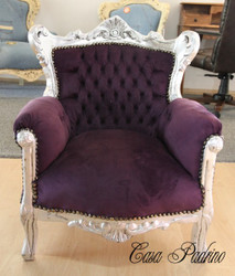 Casa Padrino Baroque Kids Armchair Purple / Silver - Children's throne throne Tron - Baroque Furniture