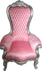 Casa Padrino baroque throne medium Majestic Rose / Silver - Giant Chair - chair throne Tron