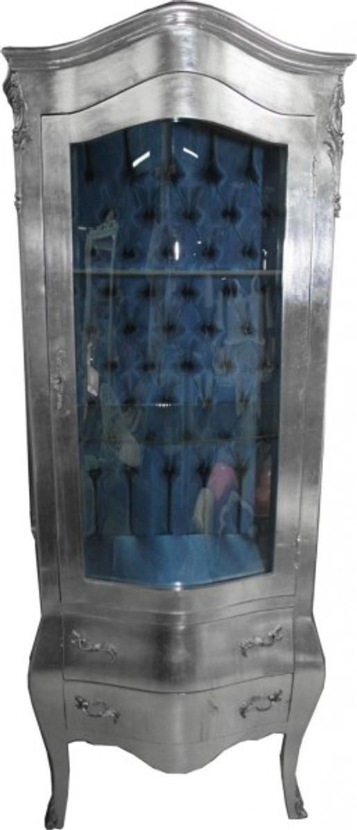 Casa Padrino Barock Vitrine Silber Mit Azzurfarbenen Innenstoff   Antik  Stil Möbel