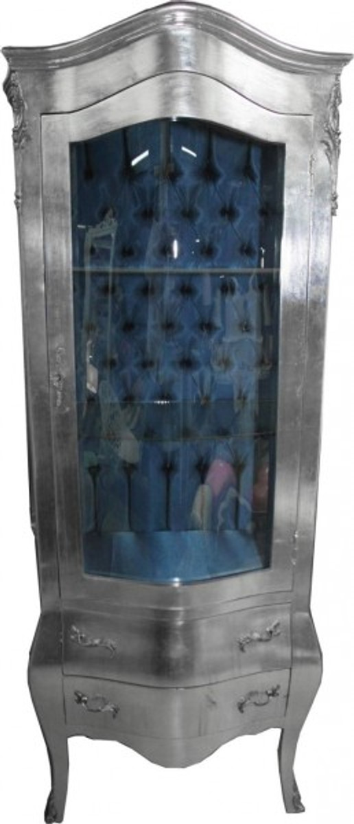 Casa Padrino Barock Vitrine Silber mit Azzurfarbenen Innenstoff ...