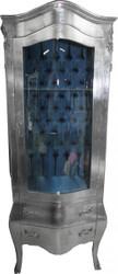 Casa Padrino Barock Vitrine Silber mit Azzurfarbenen Innenstoff - Antik Stil Möbel