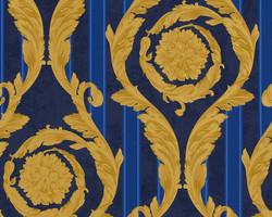 Versace Home Collection Baroque wallpaper 935 681 Art Nouveau woven wallpaper non-woven wallpaper Blue Gold