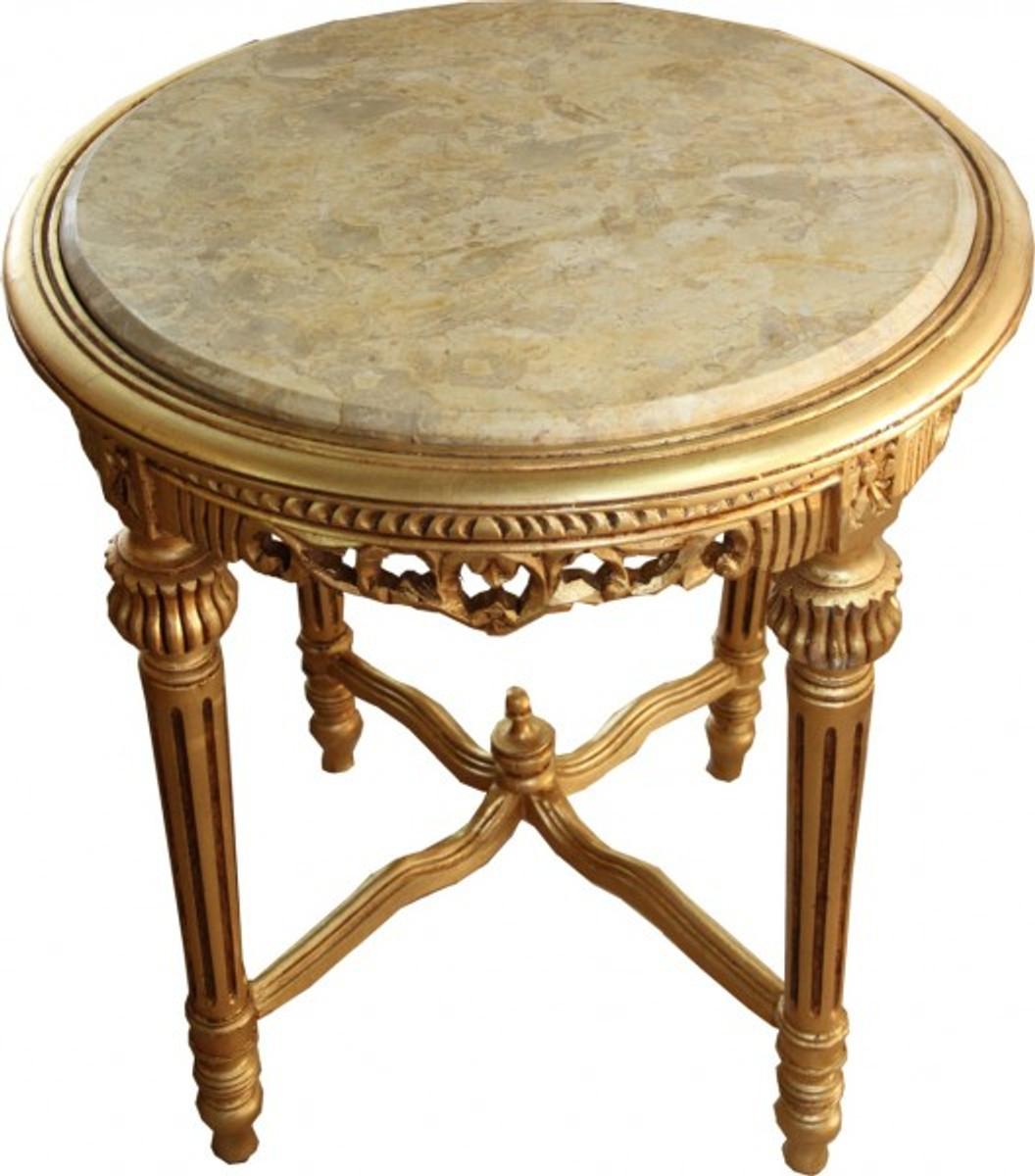 Gro er barock beistelltisch rundtisch mit marmorplatte for Beistelltisch marmorplatte