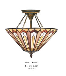 Handcrafted Tiffany ceiling light hanging lamp 41 cm diameter, 2-burner - light bulb