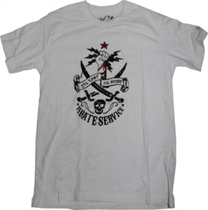 Pirate Service   Skateboard T-Shirt White/ Skull