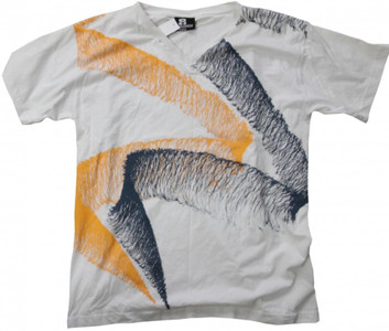 8Mileshigh Skateboard T-Shirt White/Yellow/Charcoal