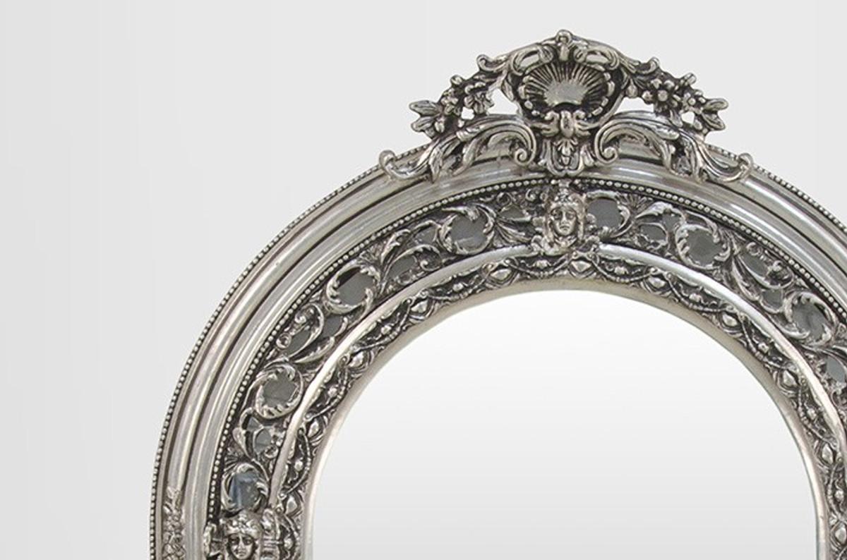 gro er prunkvoller barock spiegel halbrund silber 185 x 110 cm spiegel barock spiegel barock. Black Bedroom Furniture Sets. Home Design Ideas