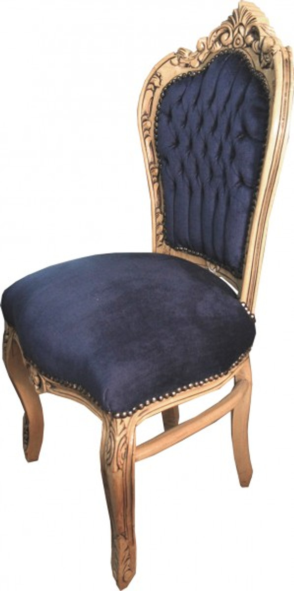 Casa Padrino Baroque Dining Chair Royal Blue / Wood