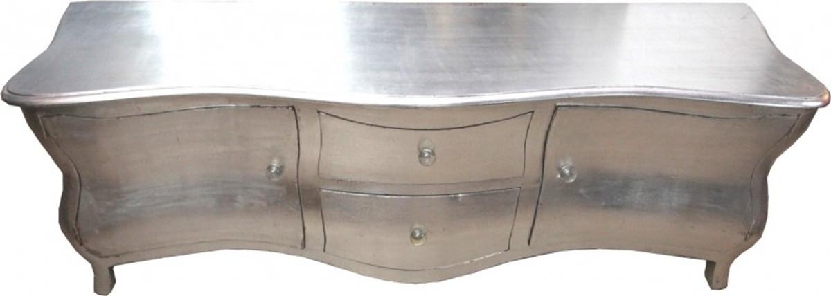 Lange Barock Kommode Fernsehschrank Sideboard Silber 170cm