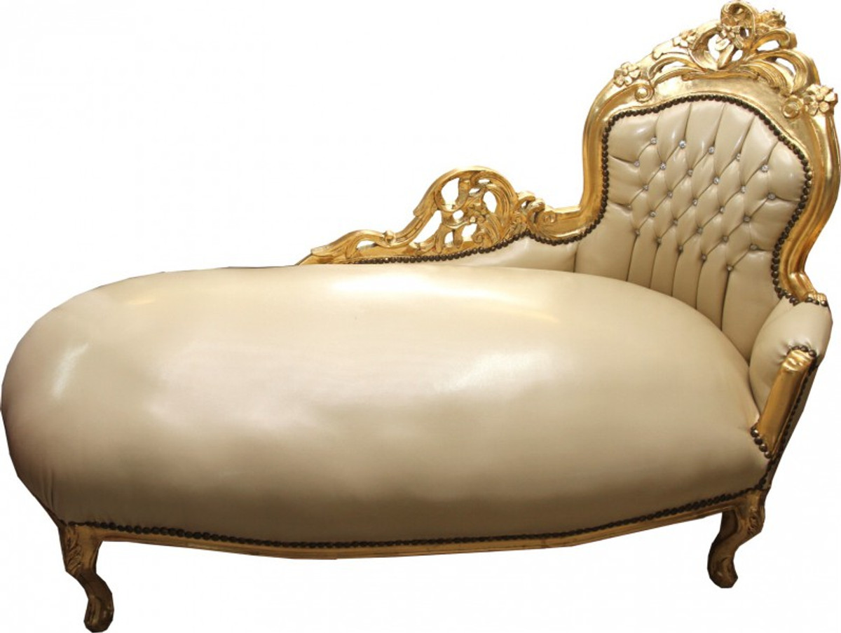 Casa Padrino Baroque Chaise Longue Cream Gold Leather Look With Bling Rhinestones
