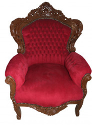 "Casa Padrino Baroque Armchair ""King"" Bordeaux / Brown Lacquered"