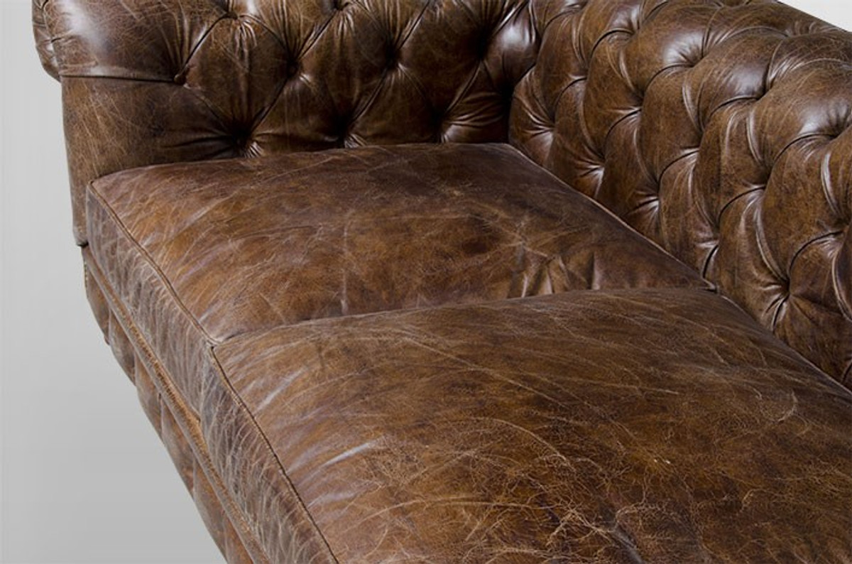 ... Chesterfield Luxury Real Leather 4 Seater Sofa Vintage Leather Cigar  Casa Padrino 4