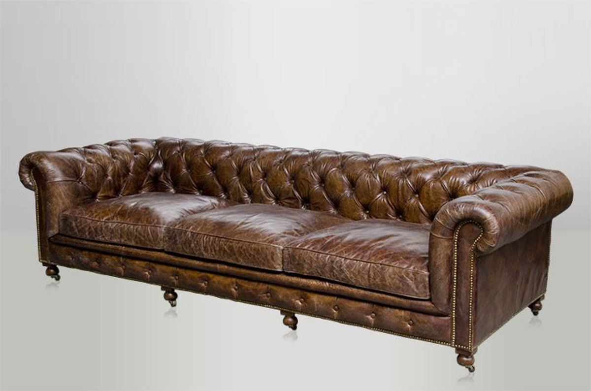 chesterfield luxus echt leder sofa 4 sitzer vintage leder von casa padrino cigar sofas luxus. Black Bedroom Furniture Sets. Home Design Ideas