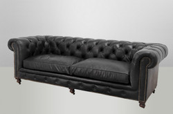 Luxury Real Leather Chesterfield sofa 3 seater vintage leather Casa Padrino Old Saddle Black