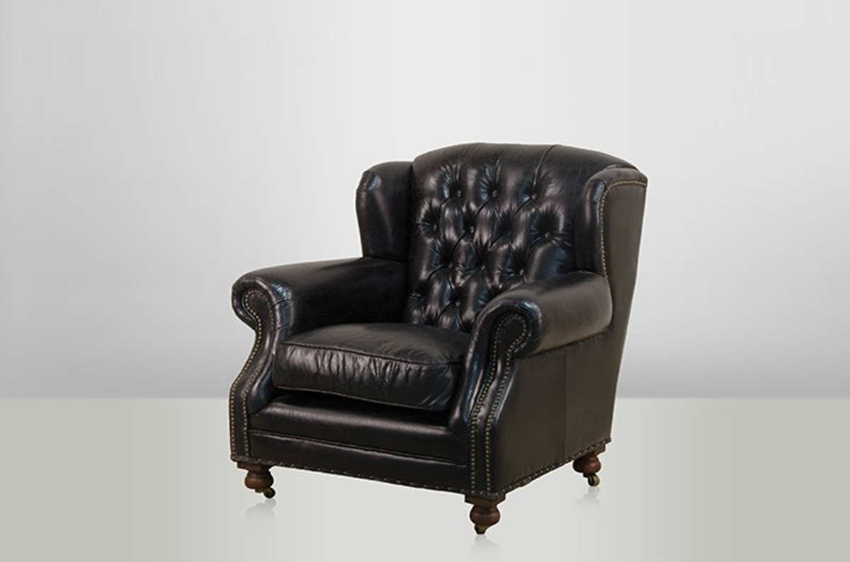chesterfield luxus echt leder ohrensessel adringley vintage leder von casa padrino ebony club. Black Bedroom Furniture Sets. Home Design Ideas