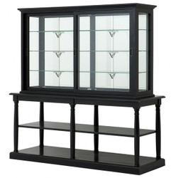 Luxury Glass display cabinet with storage Store Equipment Store & Hotel Furniture Nortbrook - Luxury category - Oak - Antique Black Finish - Display cabinet
