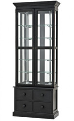 Luxury Glass display cabinet with drawers store equipment shop & hotel furniture Empo - Luxury category - Oak - Antique Black Finish - Display cabinet