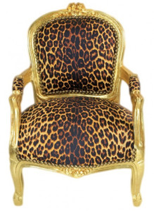 Casa Padrino Barock Kinder Stuhl Leopard/Gold - Armlehnstuhl - Antik Stil Möbel – Bild 1