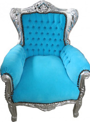 Casa Padrino Baroque Kids Armchair Light Blue / Silver